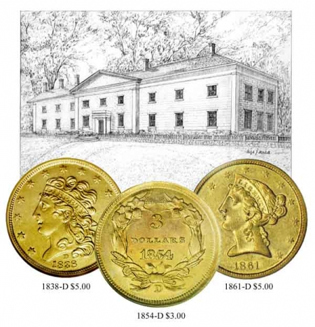 Montage of the Dahlonega Mint and Major Coins